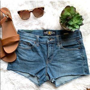 Lucky Brans Sophia Capri fringe Jean shorts size 4